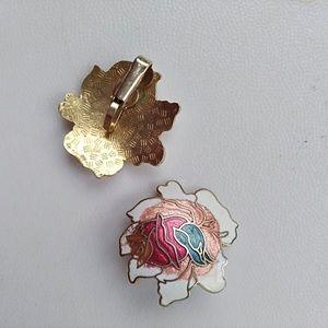 Rare Vintage Cloisonne Flower 1940's Earrings